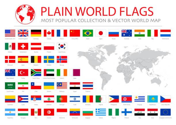 세계지도와 세계 가장 인기있는 플래그 - 일러스트 레이션 - 기 stock illustrations