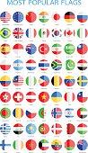 World Most Popular Flat Round Flags - Illustration