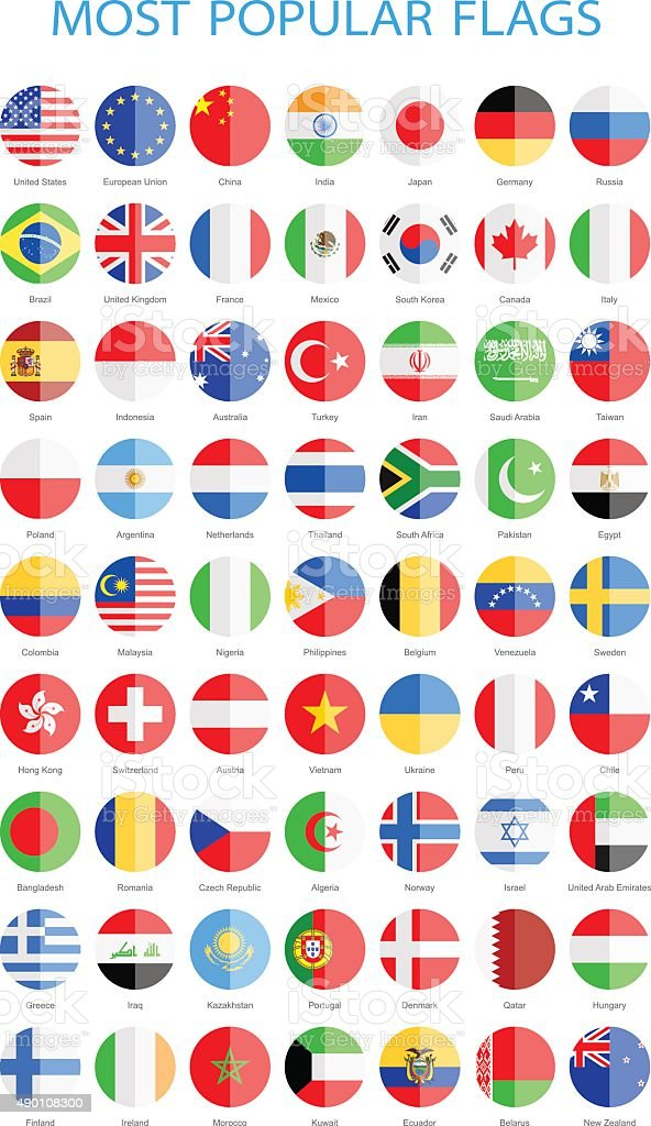 World Most Popular Flat Round Flags - Illustration vector art illustration