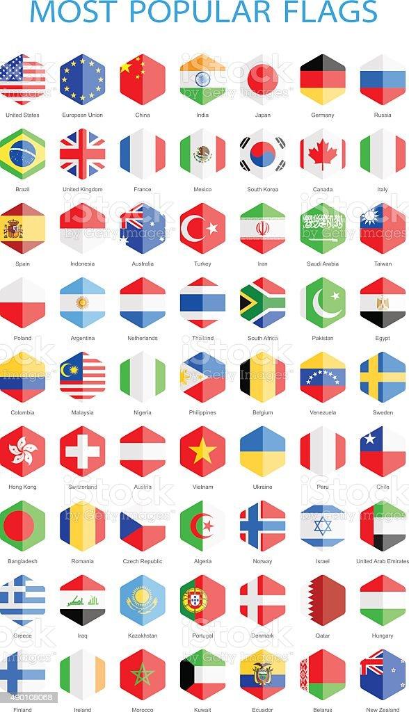 World Most Popular Hexagonal Flags - Illustration vector art illustration