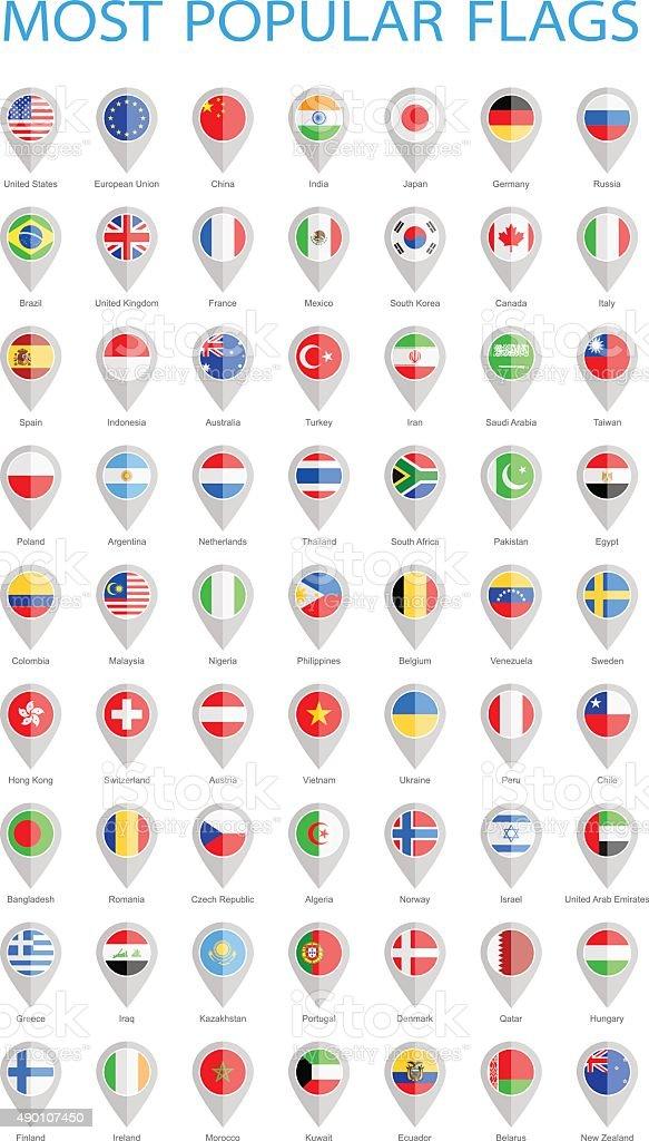 World Most Popular Round Flag Pins - Illustration vector art illustration