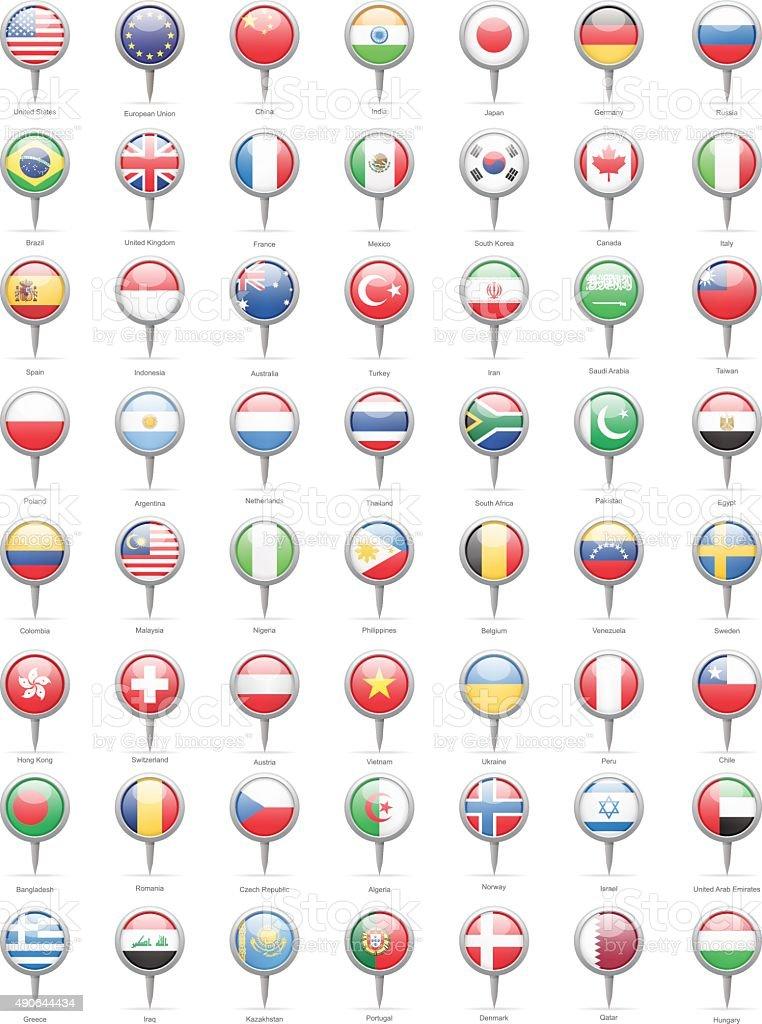 Bandera todo el mundo más populares de contactos-Ilustración - ilustración de arte vectorial