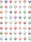 World Most Popular Round Flag Pins - Illustration