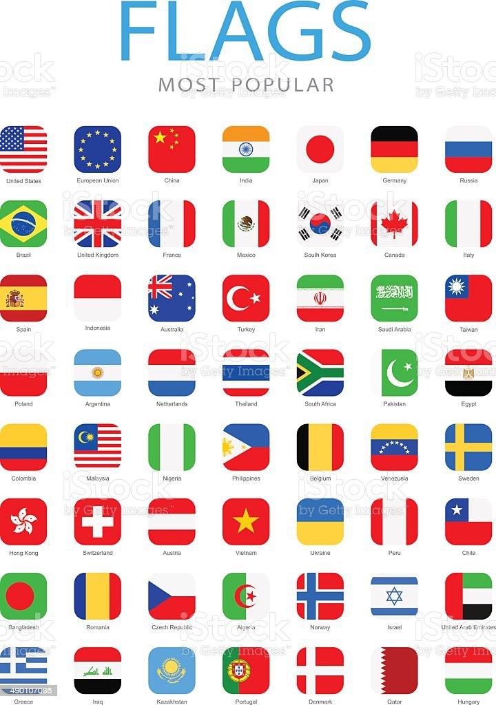 Weltweit beliebtesten Square Flag Icon-Illustration – Vektorgrafik