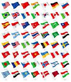 World Most Popular Waving Flags - Illustration