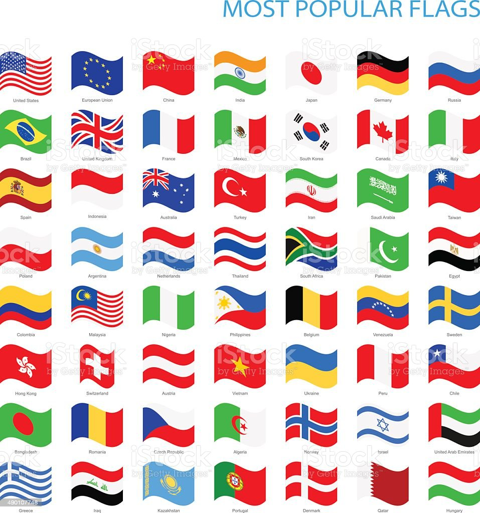 World Most Popular Waving Flags vector art illustration