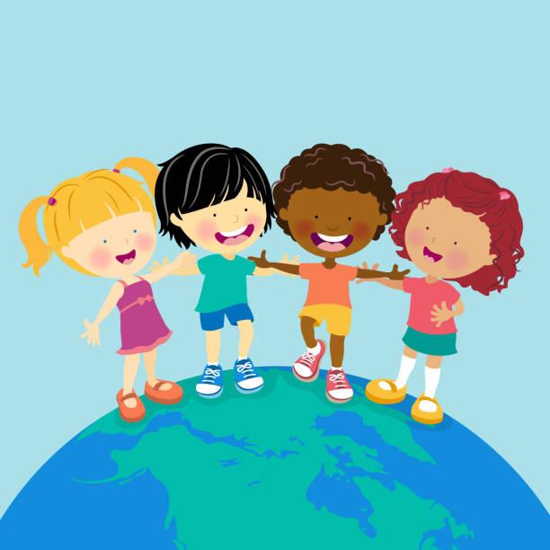 stockillustraties, clipart, cartoons en iconen met world multi-ethnic kids - kinderdag