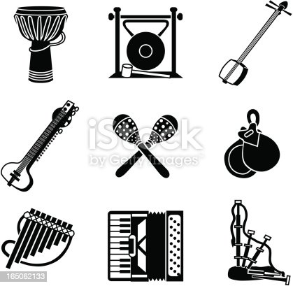 Vector icons with a world music theme.