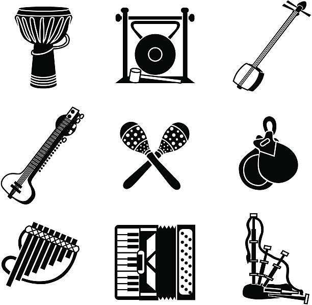 stockillustraties, clipart, cartoons en iconen met world music icons - castagnetten