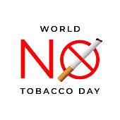World no tobacco day sign isolated on white background.