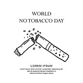 world no tobacco day poster with doodle broken of cigarettes