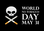 Cigarette with a skull. Stop smoking campaign. No smoking icon isolated on the black background. Important day