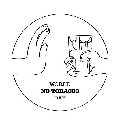 World No Tobacco Dayvector One Line Drawing Illustration Stock Illustration - Download Image Now