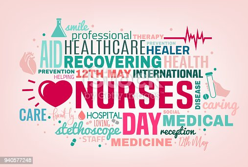 International nurse day cloud of tags concept. Vector illustration in pink, green and grey colors isolated on a light background. Medical and healthcare concept.