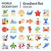 World ocean day flat icon set, water world collection, vector sketches, logo illustrations, computer web signs gradient pictograms package isolated on white background, eps 10