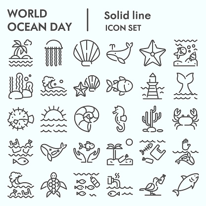 World ocean day line icon set, water world collection, vector sketches, logo illustrations, computer web signs linear pictograms package isolated on white background, eps 10.