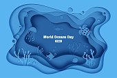 World Oceans Day 8 June. Paper craft underwater sea cave with fishes, coral reef, seabed in algae, waves. Diving concept, deep blue marine life. Vector sea wildlife