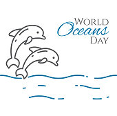 World oceans day banner with couple of dolphins jumping above water line style isolated on white background. Outline sea animals - environment vector illustration.