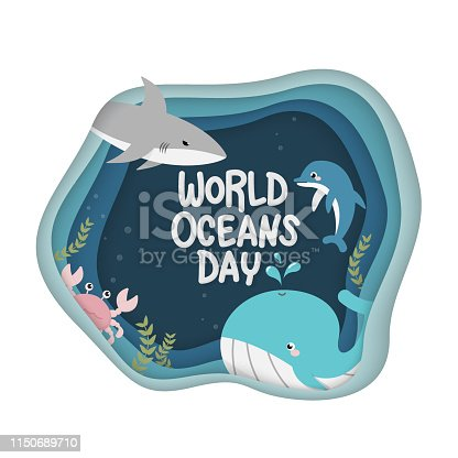 World Oceans Day. vector of marine life for celebration dedicated to help protect, and conserve world oceans, water, ecosystem and inform the public of the impact of human actions on the ocean