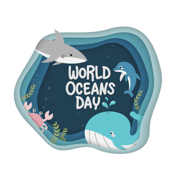 World Oceans Day. vector of marine life for celebration dedicated to help protect, and conserve world oceans, water, ecosystem and inform the public of the impact of human actions on the ocean vector art illustration
