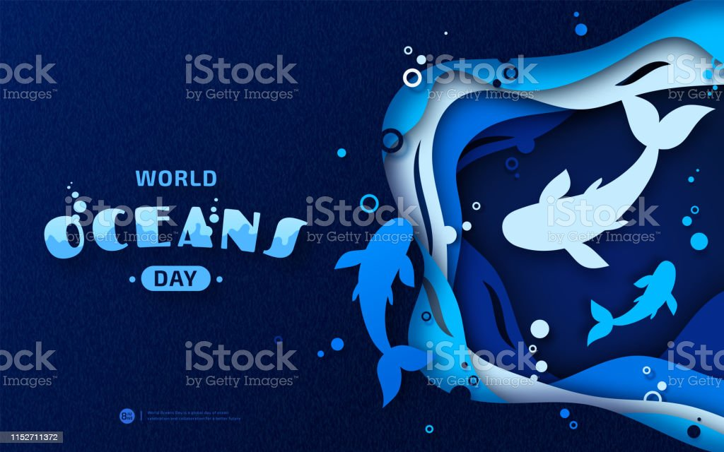 Beautiful banner for World Oceans Day in style paper art,...