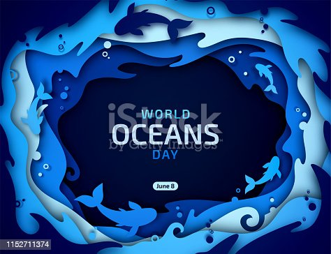 Beautiful banner for World Oceans Day in style paper art, scrapbooking.