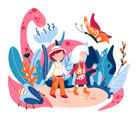 World of childhood flat vector illustration. Children fantasy word, with fictional cute monsters.