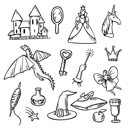 World of Fantasy and Magic Doodle Set