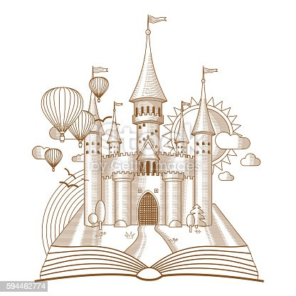 World of tales, fairy castle appearing from the old book, cartoon vector illustration. Mono line fantasy art