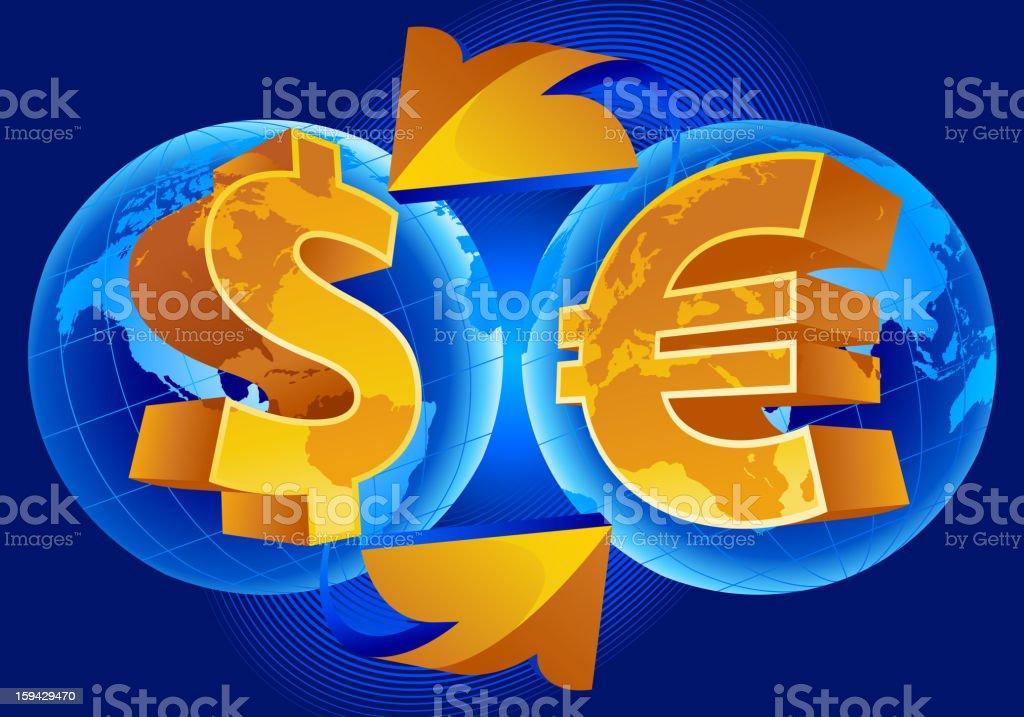 World of the finance dollar euro vector art illustration