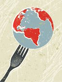 World on a fork! A stylized vector cartoon of a The earth being on the End of  Fork, reminiscent of an old screen print poster and suggesting fragility, saving the earth,, Earth Day, world hunger, world food industry, global cuisine, environment, environmental concerns or global crisis. World, fork, paper texture, and background are on different layers for easy editing. Please note: clipping paths have been used, an eps version is included without the path.