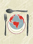 World on a plate! A stylized vector cartoon of a The earth being served on a plate, reminiscent of an old screen print poster and suggesting fragility, saving the earth,  The Earth, Earth Day, world hunger, world food industry, global cuisine, environment, environmental concerns,opportunities or global crisis. World, Cutlery, plate,, paper texture, and background are on different layers for easy editing. Please note: clipping paths have been used, an eps version is included without the path.