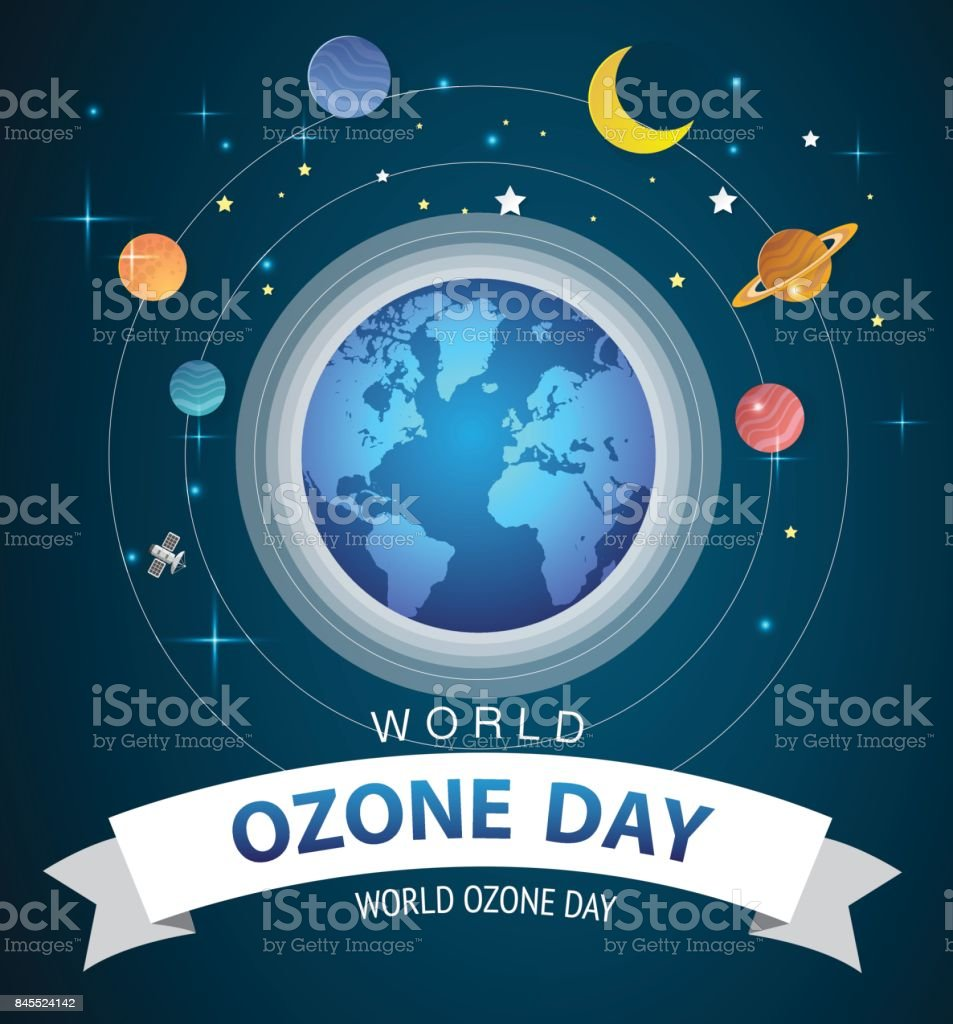World or international ozone day vector design for poster and greeting background design vector art illustration