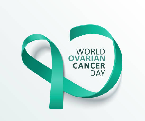 world ovarian cancer day - isolated banner with satin teal ribbon loop - ovarian cancer ribbon stock illustrations
