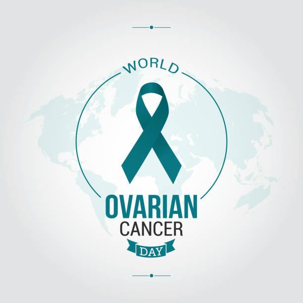 world ovarian cancer day vector illustration - ovarian cancer ribbon stock illustrations