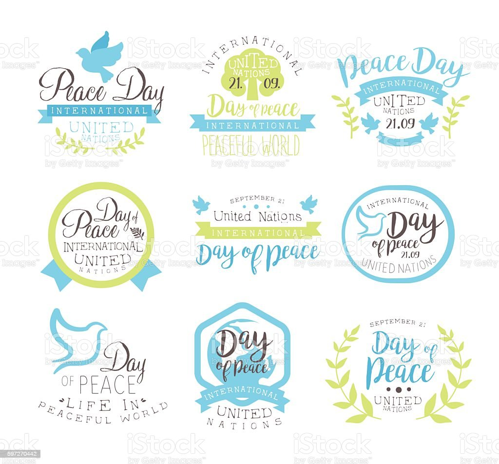 World Peace Day Set Of Label Designs In Pastel Colors Lizenzfreies world peace day set of label designs in pastel colors stock vektor art und mehr bilder von ast - pflanzenbestandteil