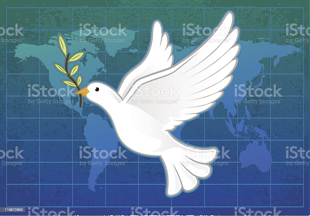 World Peace White dove with olive branch on the world map. World peace concept. Animal stock vector