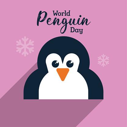 World Penguin Day poster background, cute penguin illustration banner vector