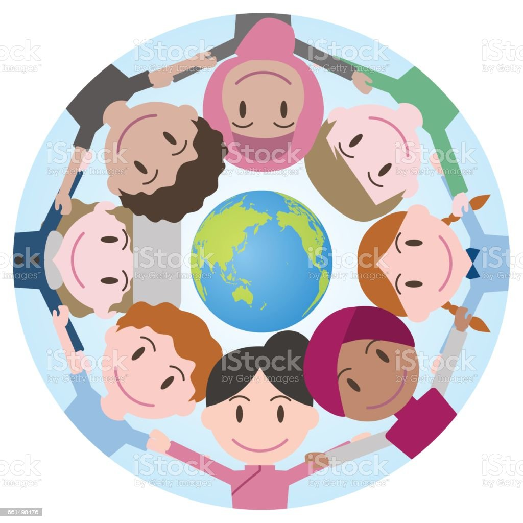 World People Form A Circle Around World Map Scrum Down ... on