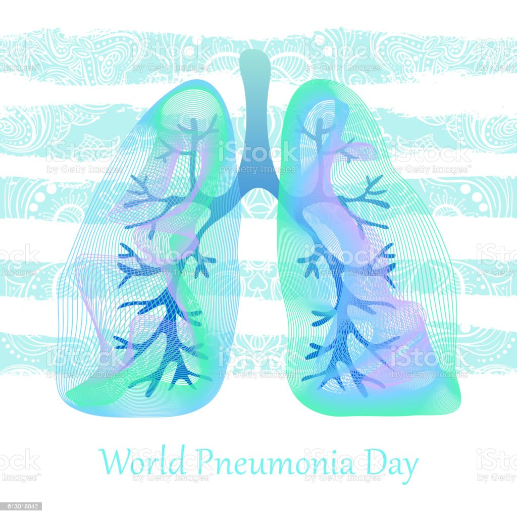 World Pneumonia Day. Human lungs. Medical illustration. Health care vector art illustration