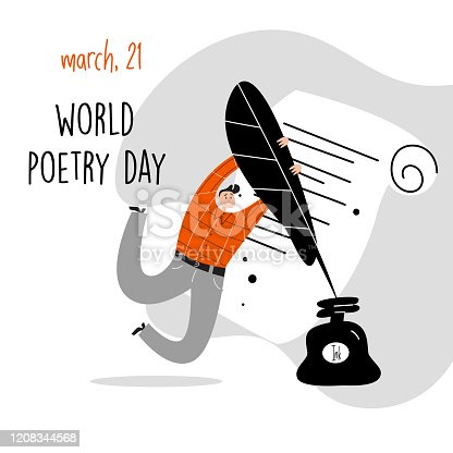 World poetry day, march 21. Vector illustration of a man holding a big feather and inkwell. Poster, banner, greeting card.