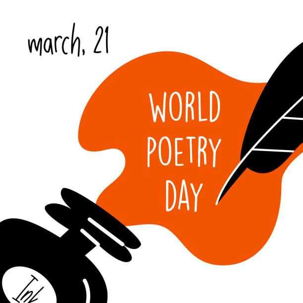 ilustrações de stock, clip art, desenhos animados e ícones de world poetry day, march 21. vector illustration of inkwell and feather. modern desugn, - tinteiro