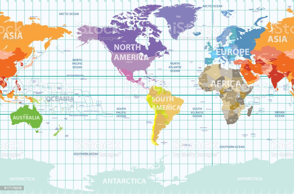 World Political Map Centered By America Stock Vector Art More