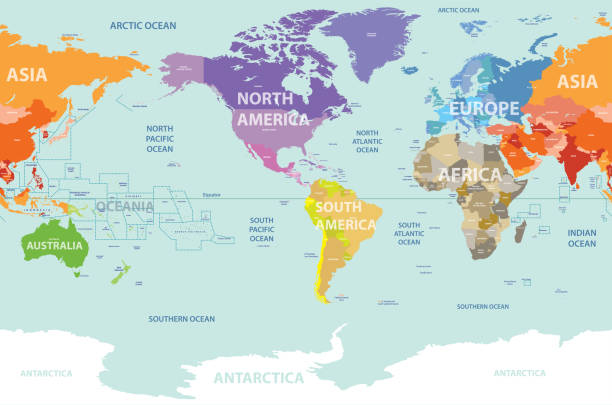 world political map centered by america - antarctica maps stock illustrations, clip art, cartoons, & icons
