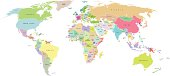 Vector world map. Every country is on separate named layer. Names of countries are on top layer. Easy to customise.