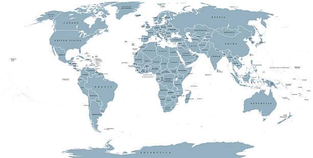world political map - antarctica maps stock illustrations, clip art, cartoons, & icons