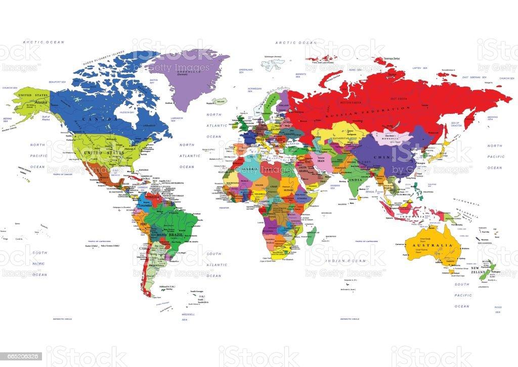 World political map. Vector illustration vector art illustration