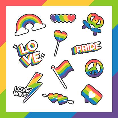 World pride day set stickers LGBT