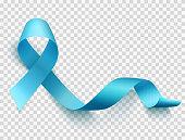Realistic blue ribbon, world prostate cancer day symbol in november, vector illustration.