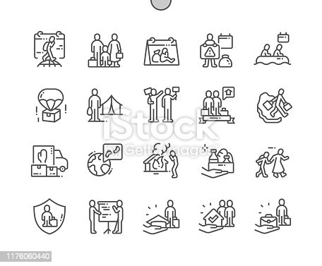 World Refugee Day Well-crafted Pixel Perfect Vector Thin Line Icons 30 2x Grid for Web Graphics and Apps. Simple Minimal Pictogram